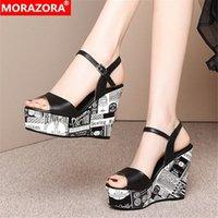 Morazora 2020 Neue Mode Frauen Sandalen Echtes Leder Sexy Frauen Pumps Wedges Plattform Sommer Party Hochzeit Schuhe Bambus Schuhe High T533 #