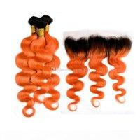 جذور اللون الداكن اللون البرتقالي 3 حزم مع الدانتيل أمامي أومبير 1B البرتقالي 350 الجسم موجة الشعر ينسج مع الأذن إلى الأذن أمامي 13x4