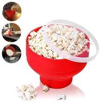 Nowy FDA czerwony silikonowy miski mikrofalowy Maker Safe Popcorn Container Traine 2020