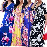 Vestidos casuales de tamaño europeo y americano Tallas para mujer con cuello en V de las mujeres con cordones de encaje con cordones Falda larga