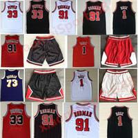 Лучшие мужские спортивные рубашки вышивка 1 # Derrick Rose Jersey красный червь 91 # Деннис Родман красный белый черный 33 # Скотти Пиппен Джерси сшиты