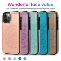 Shockproof Phone Cases for iPhone 12 11 Pro Max X XS XR 7 8 Samsung Galaxy S21 S20 Note20 Ultra Note10 S10 Plus Multi Cards Mandala Embossing PU Leather Protective Cover