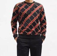 2021 Moda Hombres Otoño Sudaderas con capucha Suéteres Classic Horse Pattern Cuello Contraste Pullovers Estilo Británico Suéter casual con impresión de rayas