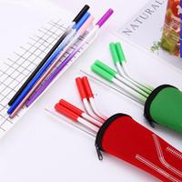 6 Farben Edelstahl Gradient Farbhalm Set mit Anti-Scratch Silikonkopf Metall Wiederverwendbar Umweltfreundlich Trinkstroh HWD5265