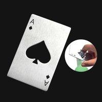 Criativo doméstico Sundries Aço Inoxidável Abridor de Cerveja Spades Poker Cartão De Cartão Portátil Bar Ferramentas Atacado