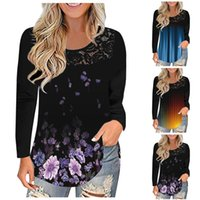 Women's Blouses & Shirts Summer Boho Flower Womens Fashion Shirt V-Neck Long Sleeve Print Tops Casual Loose Ladies Floral Blouse