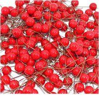 50 قطع البسيطة الاصطناعي زهرة الأحمر الكرز stamen التوت الديكور عيد الميلاد زخرفة الزفاف هدية مربع إكليل diy الحرفية jlloyj