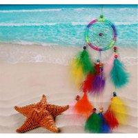 الجملة- 1 قطع dreamcatcher الهند نمط اليدوية حلم الماسك صافي مع الريش الرياح الدقات شنقا carfne jllfne xmh_home