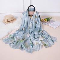 Schals 85 * 185cm Mode Seidenschal Light Magnolia Blumendruck Streifen Schal Elegante Quadratische Frauen Drop