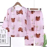 Pajamas 2021 Kids Boys Girls Summer Pajama Sets Cartoon O-Neck Breathable T-Shirt Tops With Pants Baby Toddler Sleeping Clothing Set