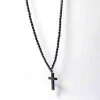 قلادة الهيماتيت قلادة للرجال النساء الصليب الدين مجوهرات الخرزة الهيماتيت المغناطيسي