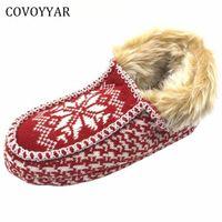 Covoyyar 2017 따뜻한 크리스마스 여성 슬리퍼 새해 겨울 컴포트 홈 신발 빨간색 실내 면화 신발 플러스 크기 40 WSL509 R7 조 #