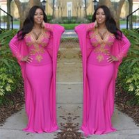 Hot Pink Moroccan Kaftan Turkish Dresses with Long Sleeves Deep V Neck Mermaid Evening Gowns Gold Beads Arabic Dubai Prom Party Dresses
