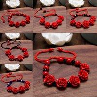 Perline, fili creativity cinabar cinese laccato rosso scolpito braccialetto femminile stile etnico braccialetto di fascino gioielli moda accessori moda