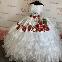 2022 Elegant White Lace Red Flower Embroidery Boho Quinceanera Dresses Off the shoulder Ball Gown Satin Organza Ruffles Long Sweet 15 16 Charra Prom Evening Dress