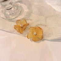 925 Sier Needle Korea East Gate Fashion Pearl Lace Flower C-shaped Earrings Temperament Design Sense Earrings Women