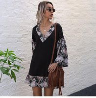 Casual Dresses Women's 2021 Fashionable Stitching Printed V Neck Flared Long Sleeved Mini Dress Spring Summer Floral Short