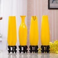 30 см Современные желтые ваза украшения мебели керамические красные настольные вазы статуя цветочный горшок для дома украшения дома свадьба
