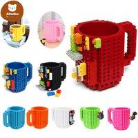 Build-On Brick Tumbler Mug Type Building Blocks Coffee Cup DIY Block Puzzle Mug Portable Drinkware Drinking Mug gf