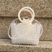 2021 New Pearl Handmade Beaded Korean knitting round Bracelet Fashion slung one shoulder handbag for women