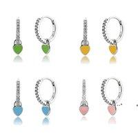 Heart Charm Hoop Earrings Fashion Women Luxury Round Circle Jewelry Studs 925 Sterling Silver Ear Buckle Crystal Rhinestone Huggie EWA8541