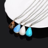 Women Pendants Necklace Silver Chain Stainless Steel Jewelry Natural Stone Pendant Statement Necklaces Rose Quartz Healing Crystal 2972 Q2