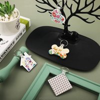 Keychains 36Pcs Wood Hardboard Keychain Blank MDF Double-Side Printed Sublimation Heat Transfer Making A10 21 Dropship