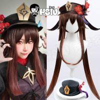 Hu Tao cosplay wig Genshin Impact cosplay HSIU Dark brown light brown gradient double ponytail long hair Imitation leather hat G0913