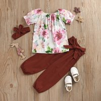 Clothing Sets Baby Girl Outfits Toddler Kids Girls Summer Cotton Clothes Flowers Print Outfit Bow Three-piece Girl's Vestiti Neonata