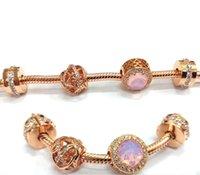 I perline di gioielli Sterling Sterling S925 perline di gioielli fai da te adatti braccialetti di charms in stile Pandora per collana di bracciale in oro rosa europeo