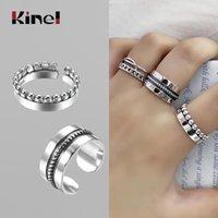 Cluster Ringe KINEL Echt 925 Sterling Silber Minimalistische Stil Für Frauen Mode 100% Stapelbare Fingerring Schmuck