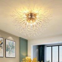 Cristal Floco de neve Candelabro para sala de estar Retângulo de cozinha Globo Dente-de-leão Candelabro Decoração Nordic Rodada Lâmpada de Teto LED