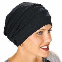2021 Yeni Elastik Moda Türban Şapka Katı Renk Kadın Sıcak Kış Başörtüsü Bonnet İç Hijablar Cap Müslüman Hijab Femme Wrap Kafa