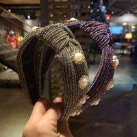 Kreuz geknotete Perlenstirnband für Frau Retro Rainbow Lünette Streifen Twisted Hairband Damen Headwear Haarschmuck