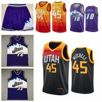 "Jerseys de basquete Donovan 45 Mitchell Mike 10 Conley Rudy 27 Gobert John 12 Stockton Karl 32 Malone Utá ""Jazz"" Jersey 2021 homens"