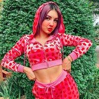Women's Hoodies & Sweatshirts Sweetown Pink Velvet Cute Women Heart Print Kawaii Jackets Zip Up Long Sleeve Cropped Autumn Tops 2021