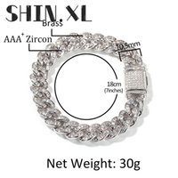 T-Shaped Zircon Cuban Bracelets Iced Out Lab Diamond Chain Gold Silver Plated Mens Hip Hop Jewelry Gift