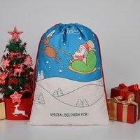 2021 Derniers styles Sacs-cadeaux de Noël Grand Sac de cordon de cordon Santa Sac Santa Santa San avec Reindeers EWD8886