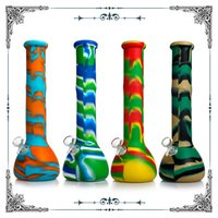 Silicone Water Bongs Hookahs with 14mm Male Glass Bowl Downstem Silicone Dab Rigs for Smoking Pipes 14 inches beaker bong