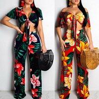 Frauen Trainingsanzüge Blumen gedruckt zweiteilig Set Mode Crop Top und breite Beinhose Womens 2-Stück Sets