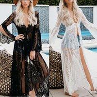 Slit para mujer Mangos de destello largo Kimono Cardigan Sheer Pestañas Floral Encaje Bikini Cubierto Cinturón Alto Cintura Maxi Long Beach Robe 210305