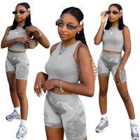 2021 Neue Frauen Zweiteiler Set Sportanzug Sommer Mode Outfits Weste Crop Tops Shorts Trainingsanzug Sport Casual Gym Yoga Kleidung H2UBJS