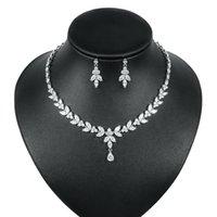Ekopdee роскошь блестящий кубический Zircon ожерелье серьги женщин CZ свадебные свадебные украшения набор платья аксессуары подарок 2021
