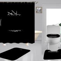 트렌드 고급스러운 인쇄 샤워 커튼 Hipster 고급 4 조각 슈트 욕실 Anti-peeping 미끄럼 방식 욕조 화장실 매트