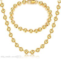 Mark 18k Gold Platings Circular Bead Necklace Bracelet Man Woman 6mm Buddhism Bead Gold Bracelet Necklace Wedding Jewelry Set