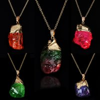 Colorful Irregular natural stone necklace Natural stone necklace original stone crystal necklace mix color