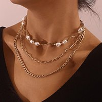 Chains Irregular Imitation Pearls Choker Necklace For Women Punk Style Layered Necklaces Female Gold Color 2021 Fashion Jewelry