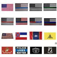 Newhome America Stars и Stripices Флаги полиции 2-й Поправка Винтаж Американский флаг Полиэстер США Соединенные Баннеры HWA7103