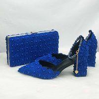 Baoyafang Royal Blue Bears Цветочный ремешок свадебная невеста заостренный носячий квадрат толстые туфли на высоком каблуке обувь и сумка