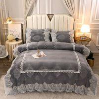 Пододеяльник набор Новый романтический кружевной серии Crystal Velvet 4PCS толстые теплые детские бархатные молочные постельное белье набор роскоши